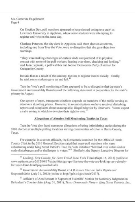 Respuesta del congresista E. Cummings a Catherine Engelbrecht.
