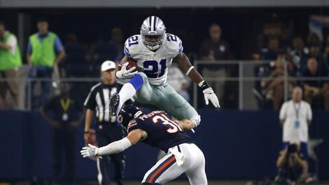Ezekiel Elliott saltó a un defensivo cómo si fuera un obstáculo