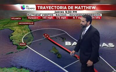El tiempo: la trayectoria de Matthew