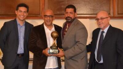 El secretario del DRD, Ramón Orta; el mánager del equipo nacional Edwin...