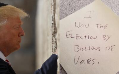 Trump en el Muro de los Lamentos y uno de los memes de internet