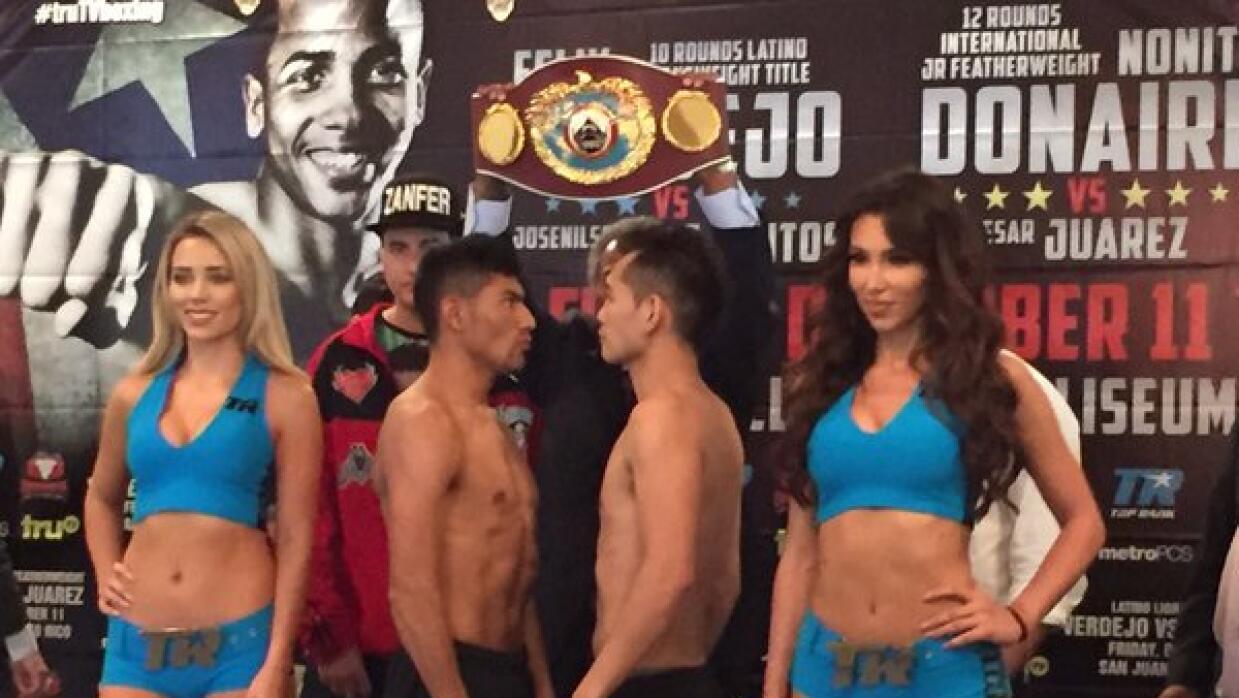 César Juárez y Nonito Donaire en el cara a cara después del pesaje.