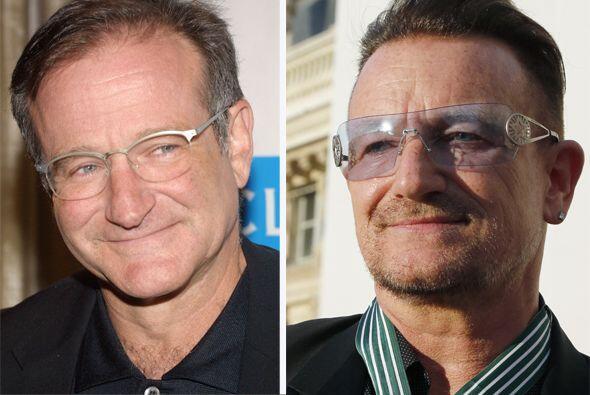 Cuando van por las calles los confunden, Robin Williams y Bono son id&ea...