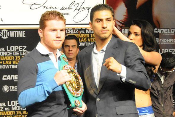 No hubo cara a cara, pero si fotos de los boxeadores que se enfrentarán....