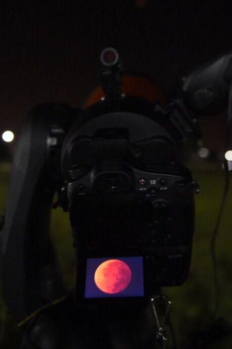 Sin embargo, la Luna no desaparece de la vista, sino que se tiñe de rojo.