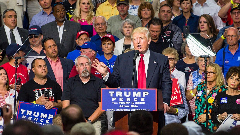 Trump en un mitin en Akron, Ohio