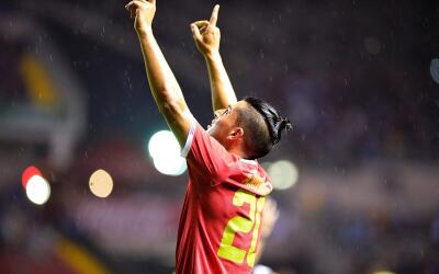 Ariel Rodríguez festeja su gol frente a Venezuela.