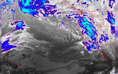 Imágenes de los frentes lluviosos que afectan al estado de California el...