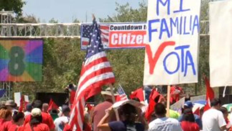 La manifestación se concentró en el distrito del congresista republicano...