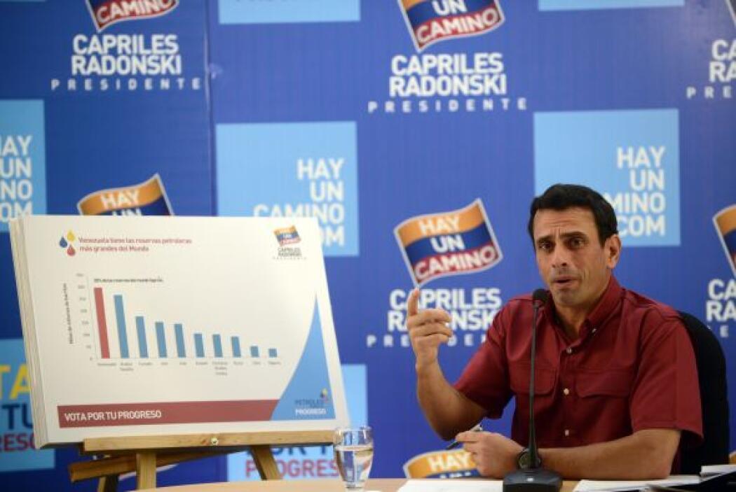 El candidato presidencial de la oposición venezolana, Henrique Capriles,...