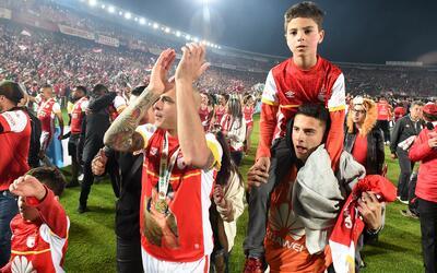 Independiente Santa Fe celebra un título