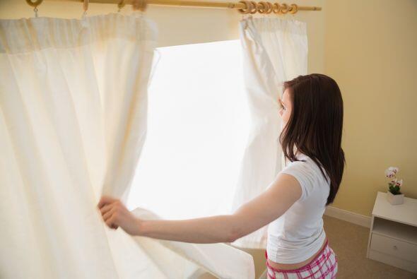 Deja entrar la luz. Las cortinas desteñidas y las persianas americanas m...