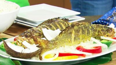 Cynthia Klitbo preparó un pescado 'a la bilirrubina' con el Chef Carlos