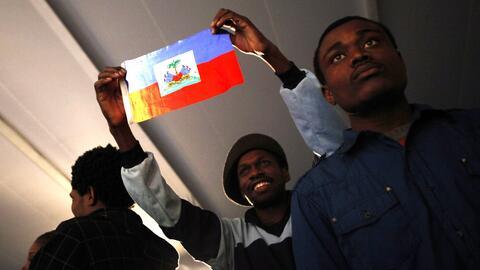 Haitianos en un acto con la comunidad de haitianos más grande de...