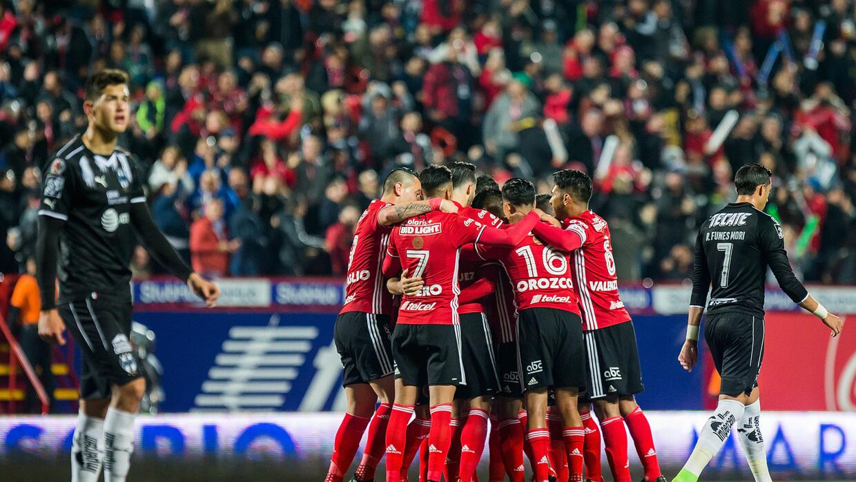 Tijuana festeja uno de los dos goles que le hizo a Monterrey.