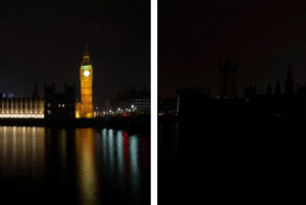 Esta combinación de imágenes muestra el Parlamento Central de Londres an...
