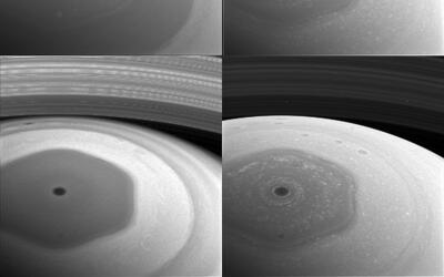 La sonda espacial Cassini captó un 'polo hexagonal' en una de sus...