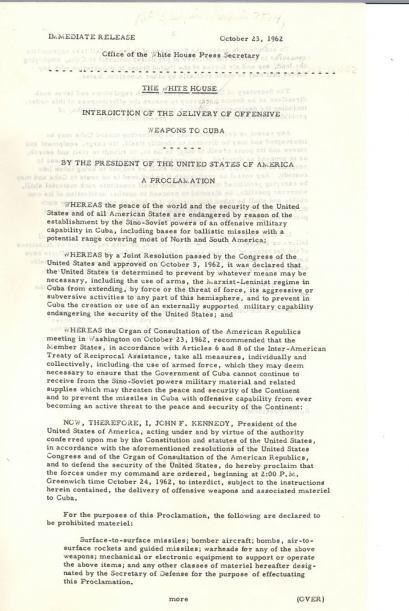 Orden del bloqueo, firmada por el presidente Kennedy el 23 de octubre de...