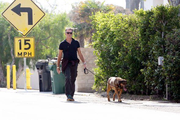 El agente secreto tiene un estilo único para llevar a su perro.