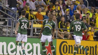 Fanendo Adi celebra su doblete ante Columbus Crew SC