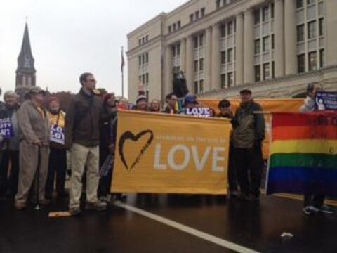 Los manifestantes viajaron de diferentes partes del estado para apoyar l...