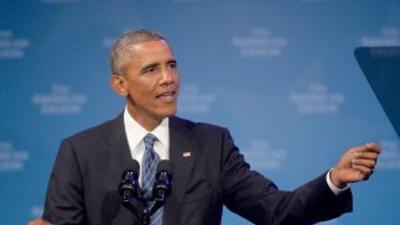 El Presidente de Estados Unidos, Barack Obama, habla ante laante conven...