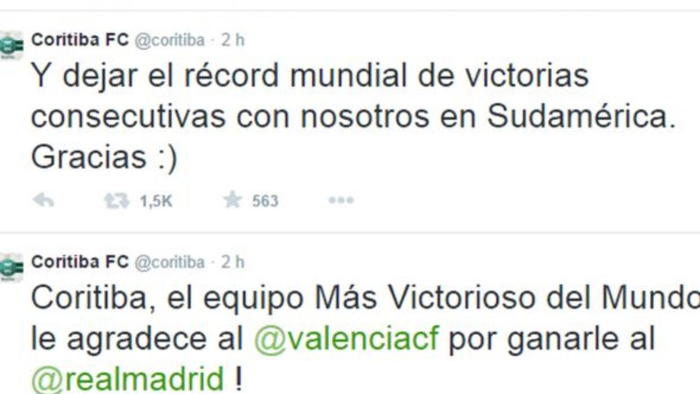 Coritiba agradeció al Valencia en Twitter con estos curiosos mensajes.