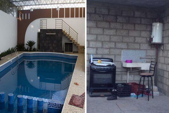 La foto izquierda muestra los lujos bajo los cuales vivía el l&ia...