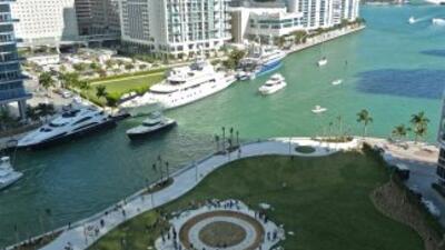 Una vista del Miami Circle, descubierto en 1988 al demolerse un edificio...