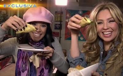 Thalía y Karla fueron a un mercado a comer tacos en Nueva York