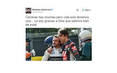 Esteban Gutiérrez agradeció salir bien después de aparatoso accidente