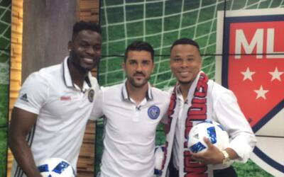 Maurice Edu, David Villa y Charlie Davies en 'Good Morning America'.