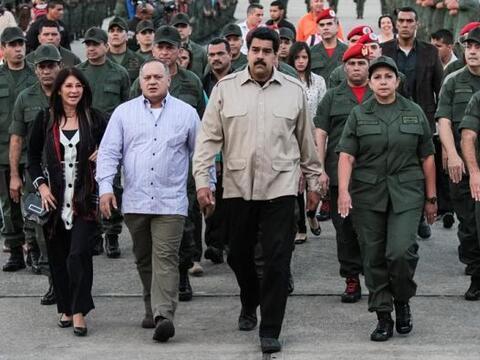 El presidente de Venezuela, Nicolás Maduro, durante un acto militar este...