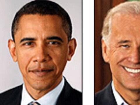 Los candidatos del Partido Demócrata: Barack Obama y Joe Biden. A...
