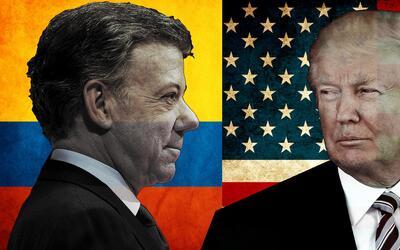 Colombian President Juan Manuel Santos meet Donald Trump for the first t...