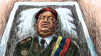 Así lució el presidente Hugo Chávez en el ataúd durante el funeral de Es...