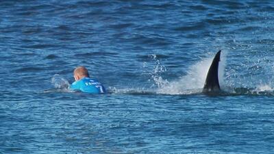 Surfista escapa ileso del ataque de un tiburón en pleno torneo