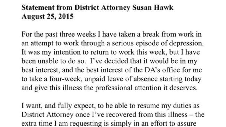 Comunicado de Susan Hawk