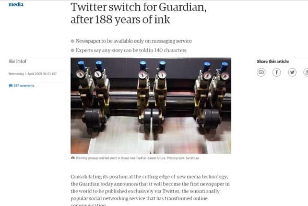The Guardian cambia a twitter (2009) - En 2009 el periódico decidió no s...