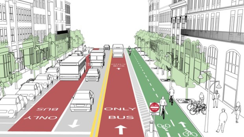 Sendas para el transporte público que van en contra del flujo del tráfic...