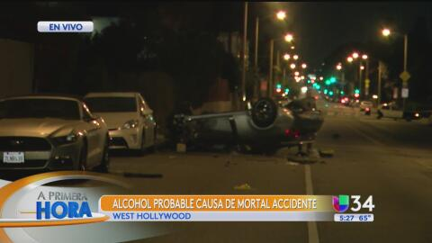 Accidente en West Hollywood deja a una mujer muerta y a varios heridos