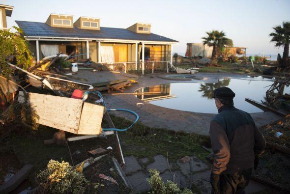 Aspecto de las casas en Concon, en la costa, tras la fuerza del sismo.