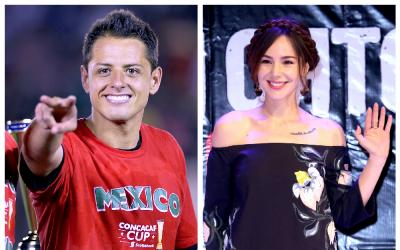 El delantero mexicano Javier 'Chicharito' Hernández y la actriz C...