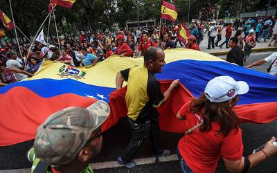 Simpatizantes del presidente Nicolás Maduro durante una manifesta...