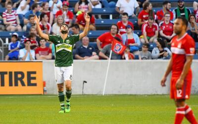 Diego Valeri celebrando su gol ante Chicago Fire