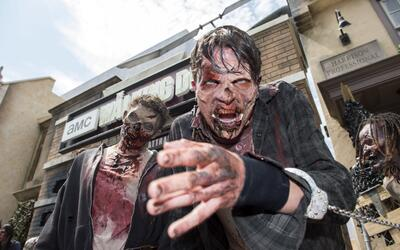 People dressed as zombies act for the camera at the Universal Studios Ho...