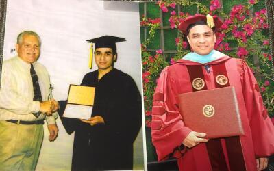 A la izquierda, Luis García recibía un diploma de preparat...