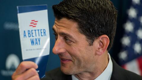 Speaker of the House Paul Ryan holds up 'A Better Way' pamphlet as he sp...