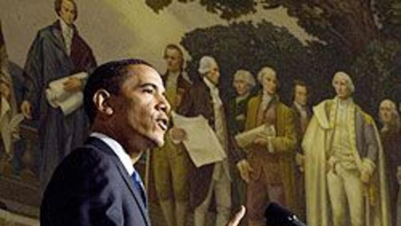 Obama habló en el Archivo Nacional de Washington sobre sus planes para l...