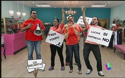 Los huelguistas protestan contra los diseñadores de modas